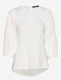 Claire tie back blouse - långärmade blusar - offwhite