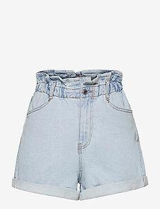 Paperbag denim shorts - jeansshorts - pale blue (5973)