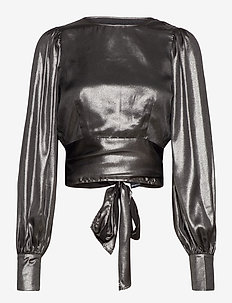 Ann open back blouse - navel shirts - silver