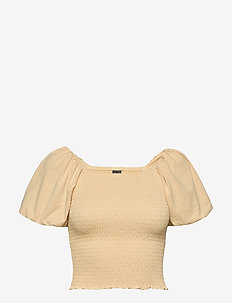 Nelma puff sleeve top - crop tops - reed yellow (2156)