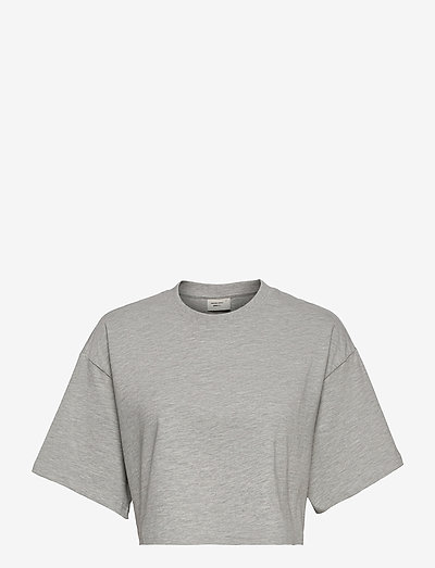 Claire cropped tee - t-shirts & tops - grey melange (8181)