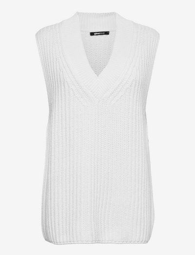 Harper knitted vest - strikkevester - offwhite