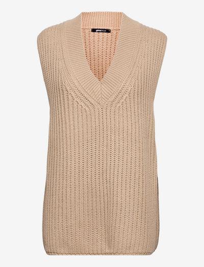 Harper knitted vest - strikkevester - plaza taupe (1761)