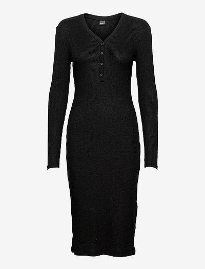 Eloise rib dress - sukienki letnie - black (9000)