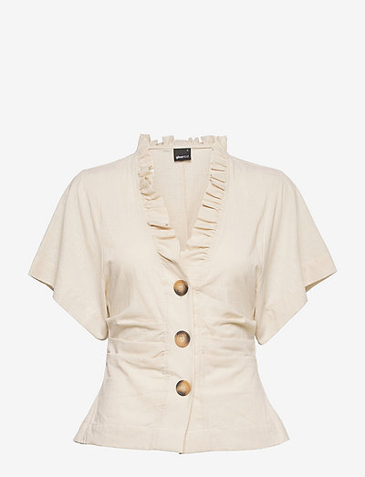 Tyra shirt - kortermede bluser - lt linen beige (1037)