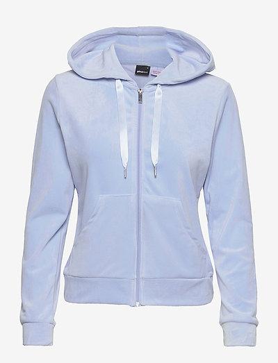 Cecilia velour hoodie - hettegensere - pop blue (5151)