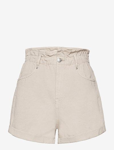 Paperbag denim shorts - denim shorts - sand