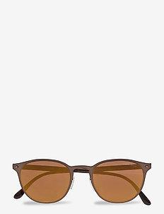 Metal Frame Sunglasses - okulary przeciwsłoneczne w kształcie litery d - matte brown