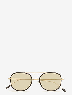 Metal Frame Sunglasses - MATTE PALE GOLD/BLACK