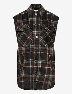 Maline - overshirts - black brown check
