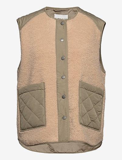 Vinson - vestes sans manches en tissu peluche - khaki sugar mix