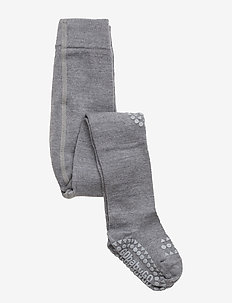 Wool Crawling Tights - non-slip socks - grey melange