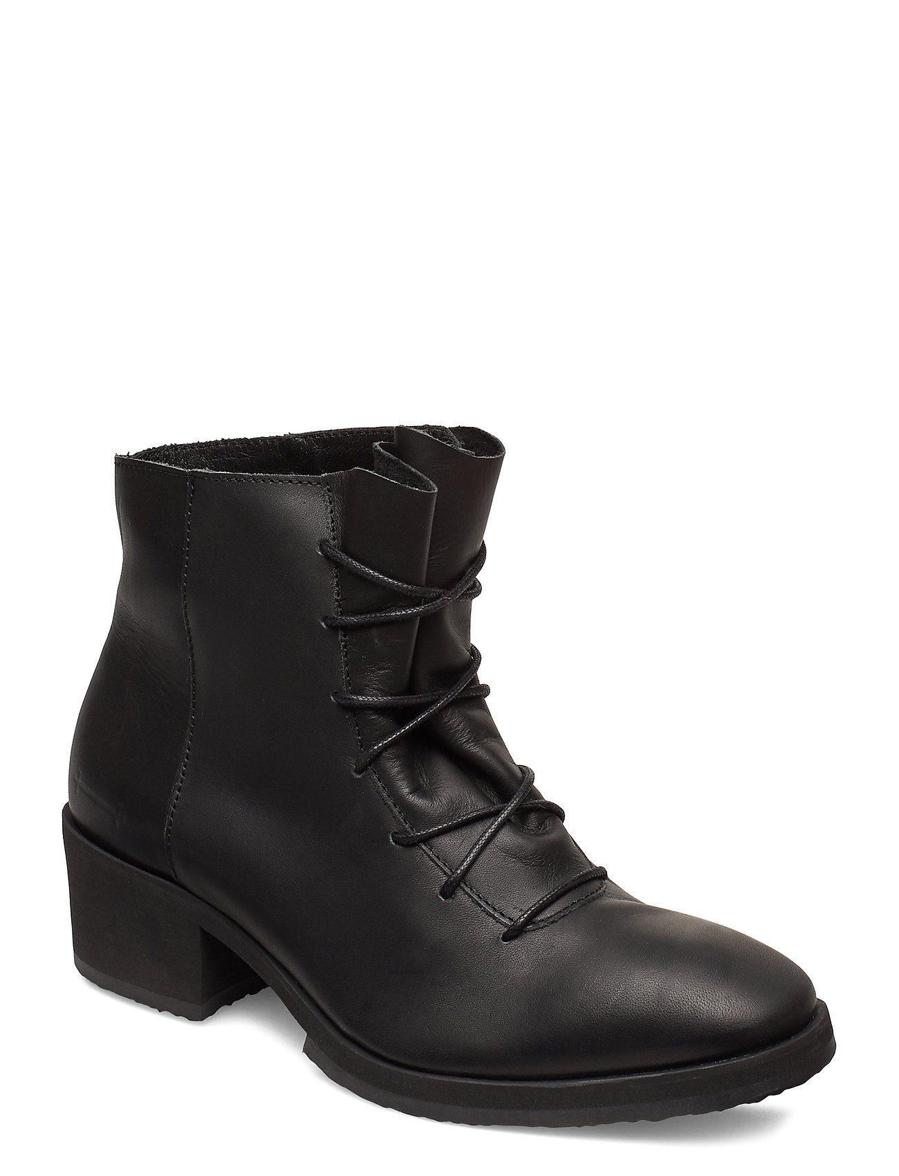 Image of Yatfai Boot Black Leather Shoes Boots Ankle Boots Ankle Boot - Heel Sort Gram (3455521893)