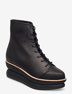 503g lace-up black leather - platta ankelboots - black leather