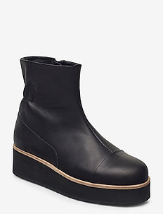 425g elasto black leather - platta ankelboots - black leather