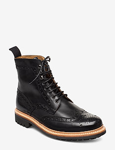 FRED - laced boots - black