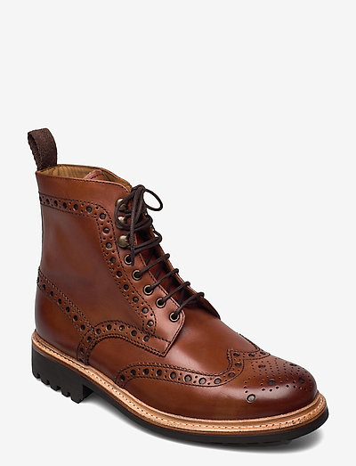 FRED - bottes lacées - tan handpainted