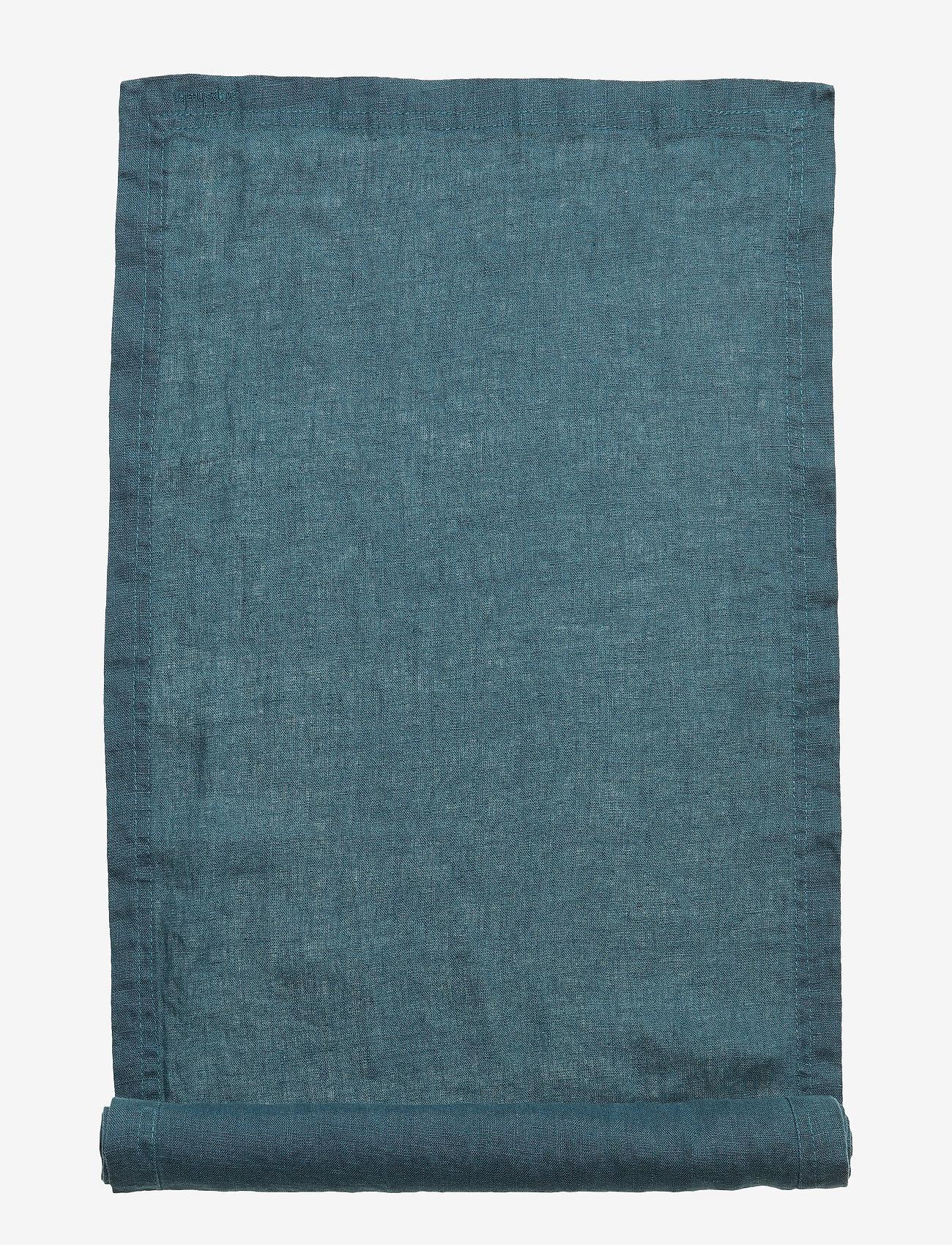 Gripsholm - Runner Washed Linen - wystrój domu - dark petrol - 0