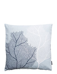 CUSHION COVER LINEN CORAL - BLUE FOG