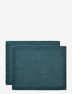 Placemat Washed Linnen 2-pack - bordstabletter - dark petrol