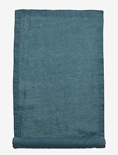 Runner Washed Linen - dekorationer - dark petrol