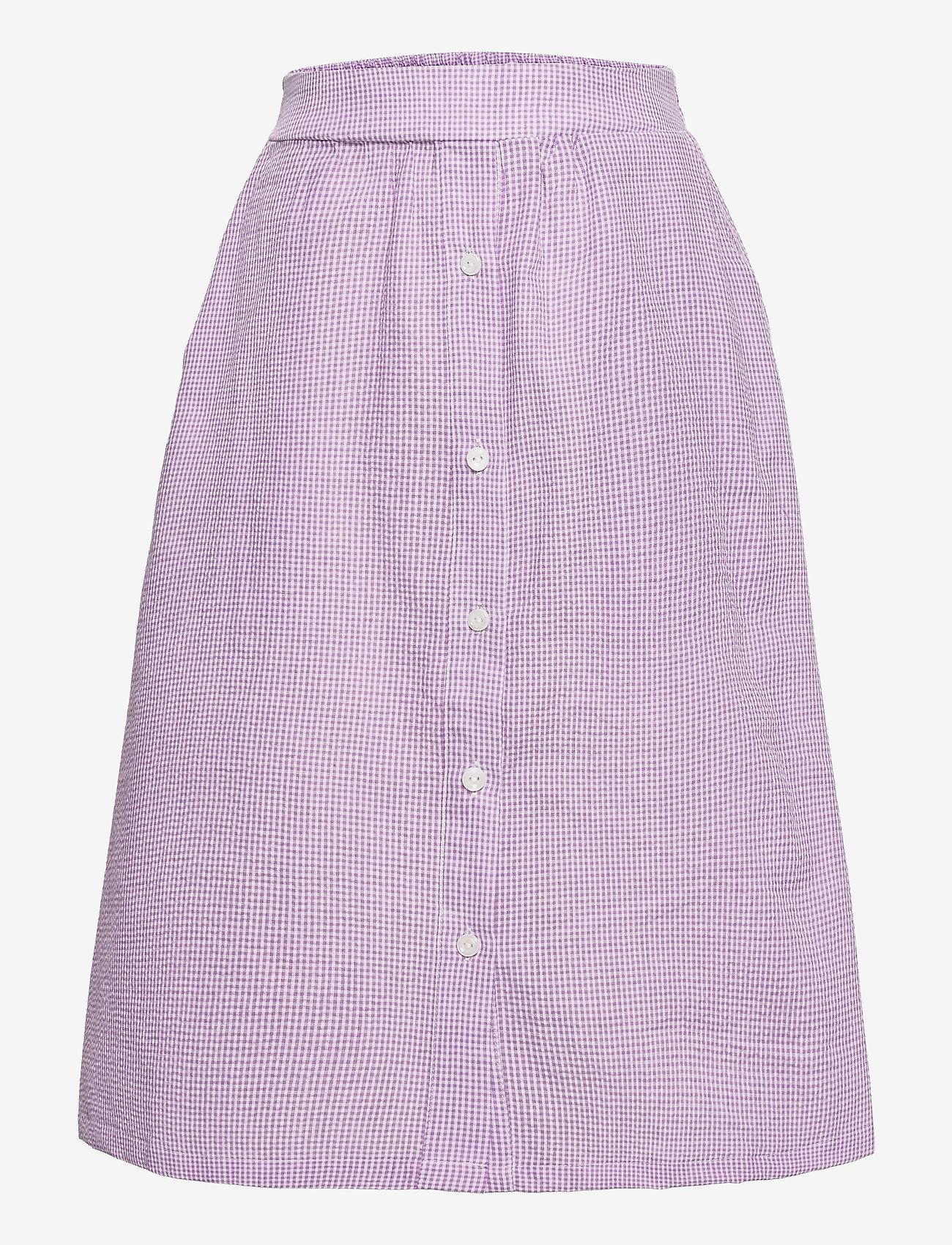 Grunt - Joan Check Midi Skirt - röcke - light purple - 0