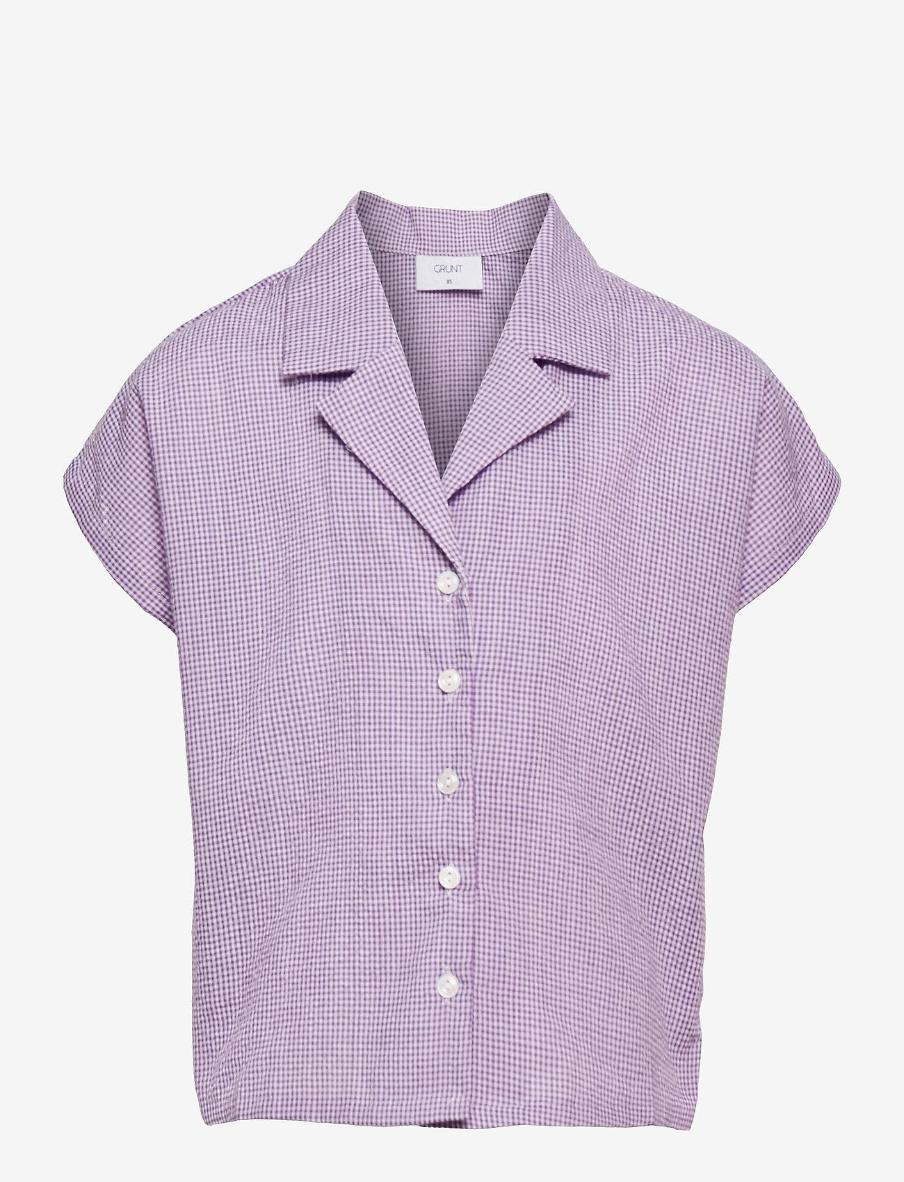 Grunt - Suisu Check Shirt - shirts - light purple - 0