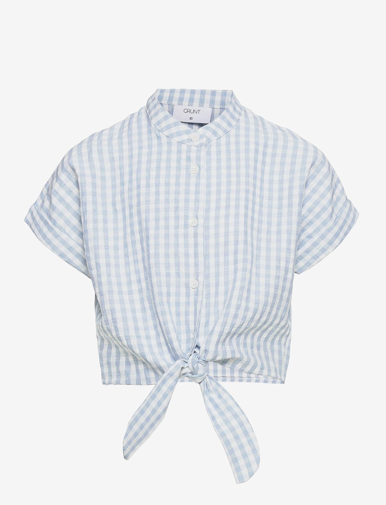 Grunt - Aros Check Shirt - shirts - light blue - 0