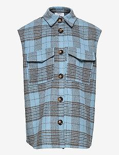 Nadya Check Vest - vests - baby blue