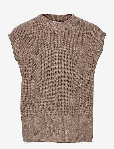 Ann Knit Vest - vests - sand melange