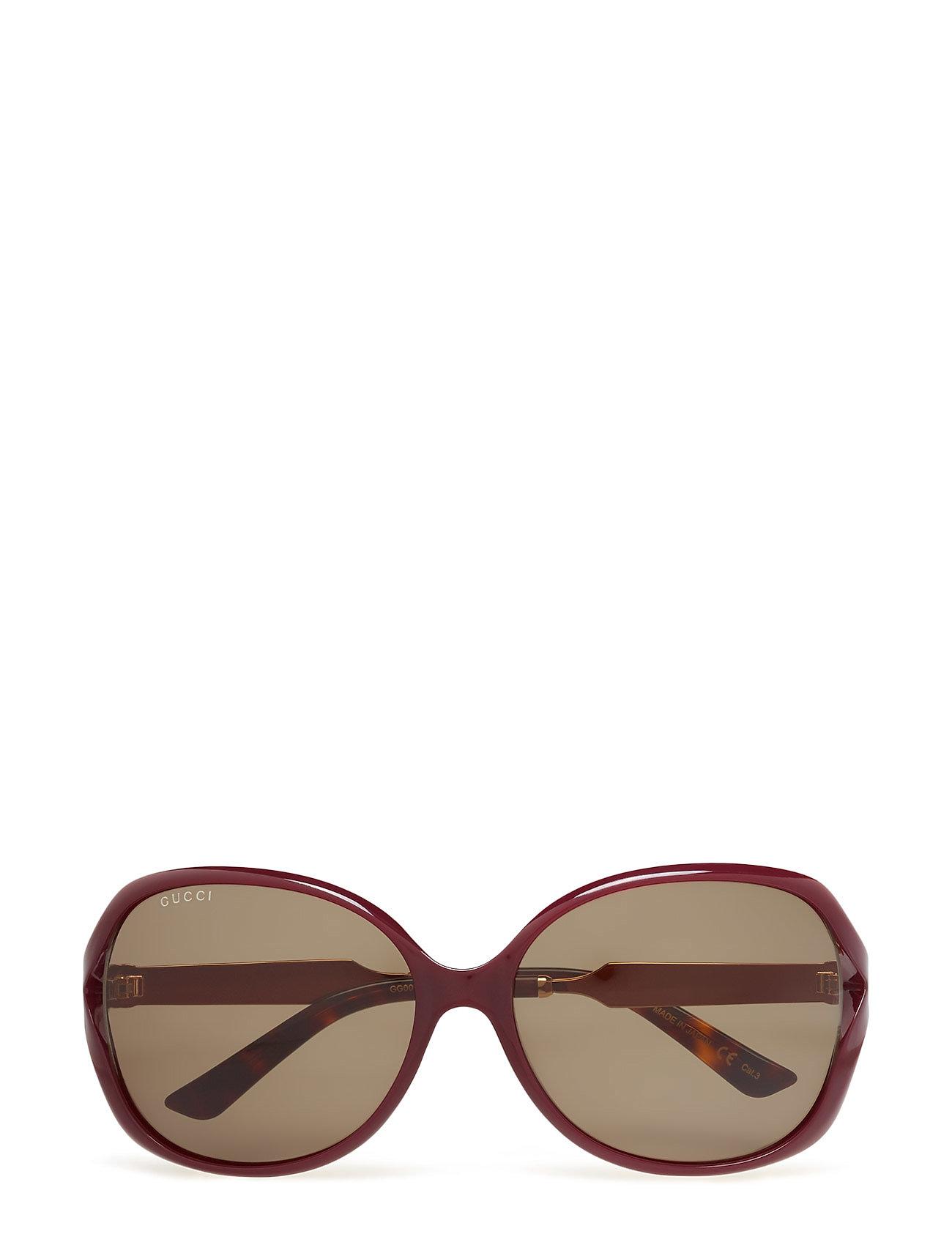 b1e7be13255e Gg0076s solbriller fra Gucci til dame i BURGUNDY-GOLD-GREEN - Pashion.dk