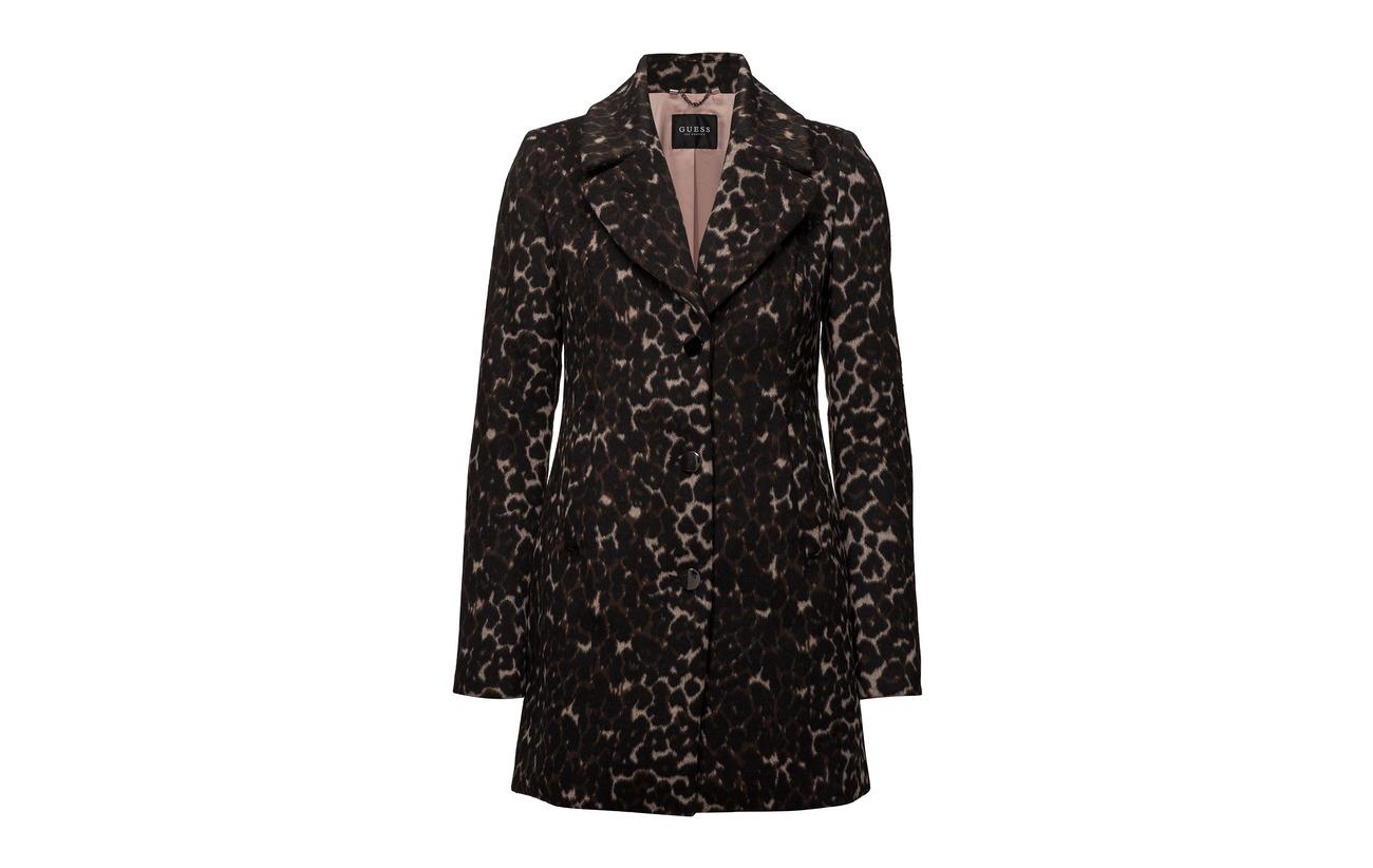 Guess Emilie 72 Coat 13 Leopard Beige Acrylique Polyester Laine 15 Com Jeans qArgUqnwp