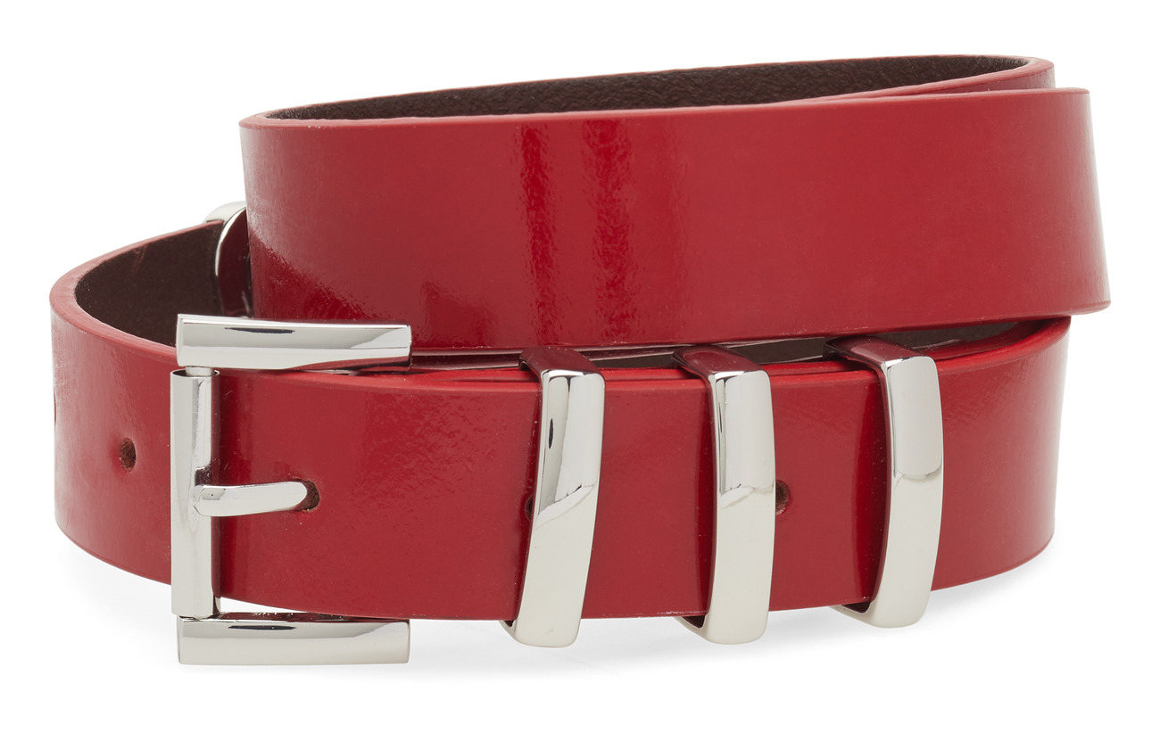 GUESS Jeans LOGO LEATHER BELT - RED ATTITUDE