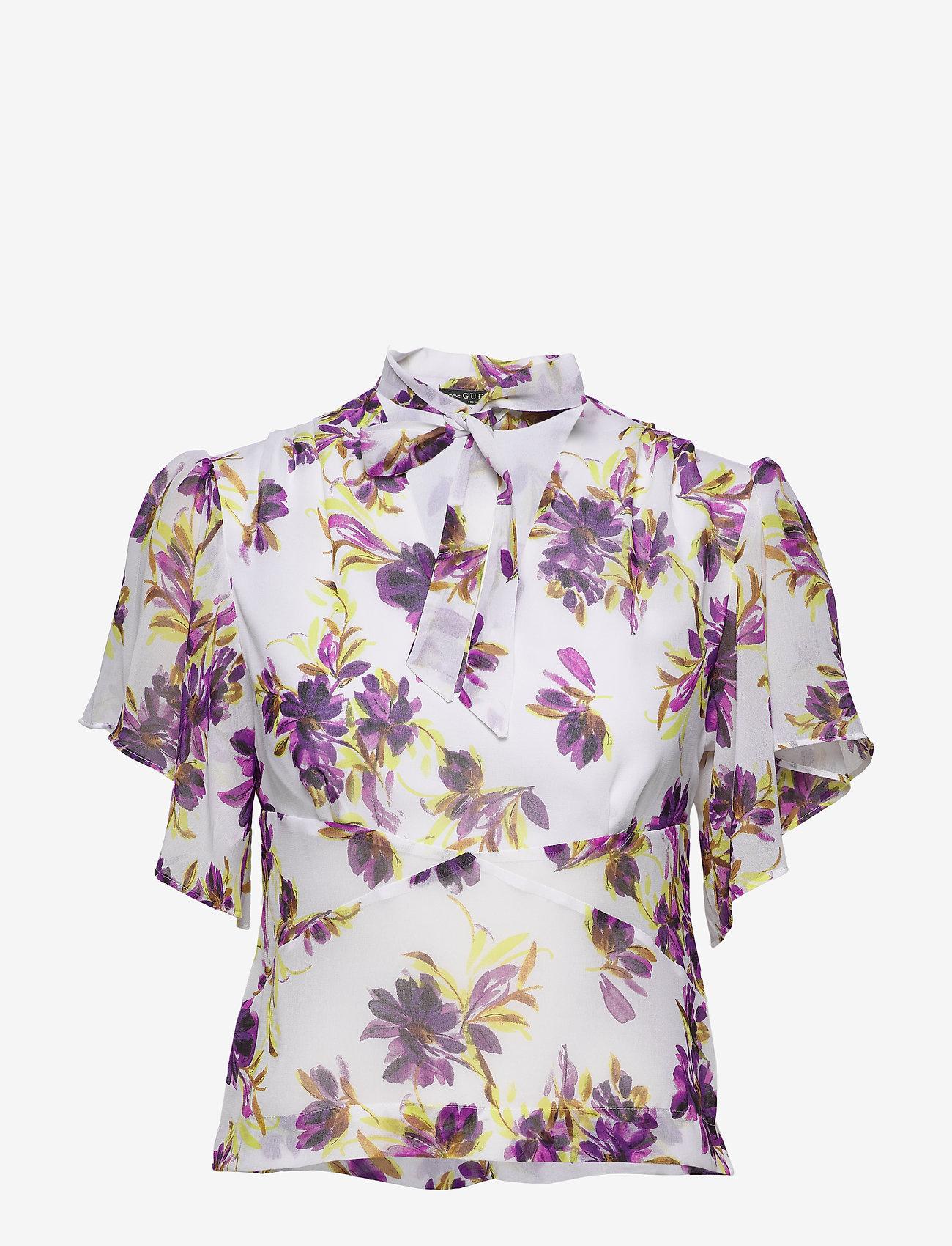 GUESS Jeans SS CHRYSTAL TOP - Bluzki & Koszule WATERCOLOR FLOWER - Kobiety Odzież.