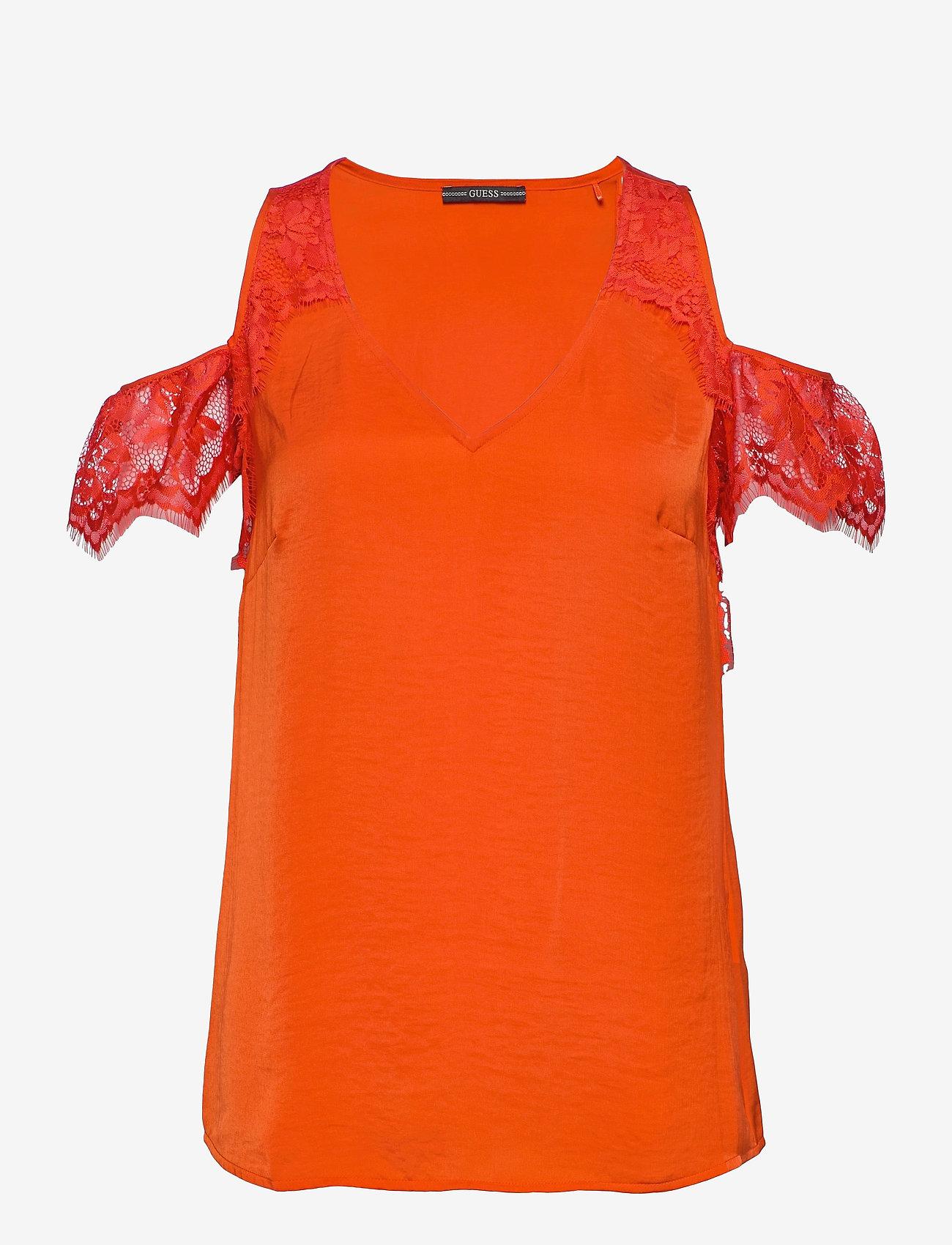 GUESS Jeans - SL MARIAH TOP - t-shirts - blazed amber - 0