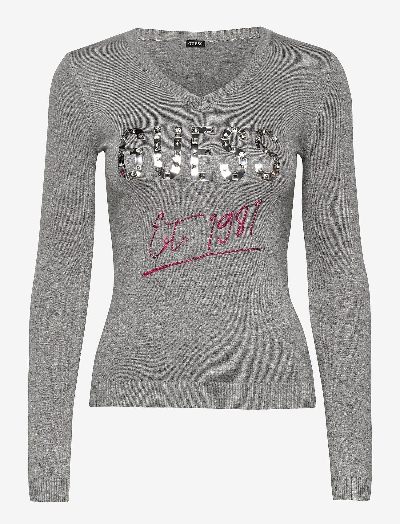 GUESS Jeans - ANGELINE V-NECK SWTR - tröjor - stone heather gre - 0