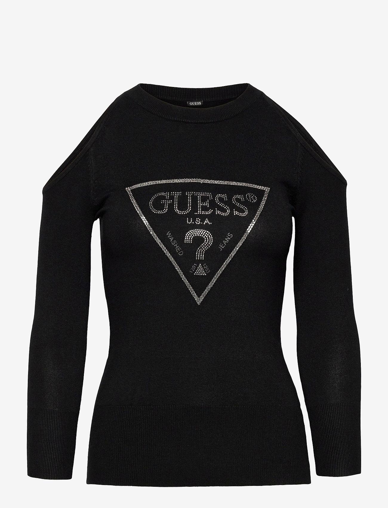 GUESS Jeans - AURELIE CUT OUT SWEATER - pulls - jet black a996 - 0
