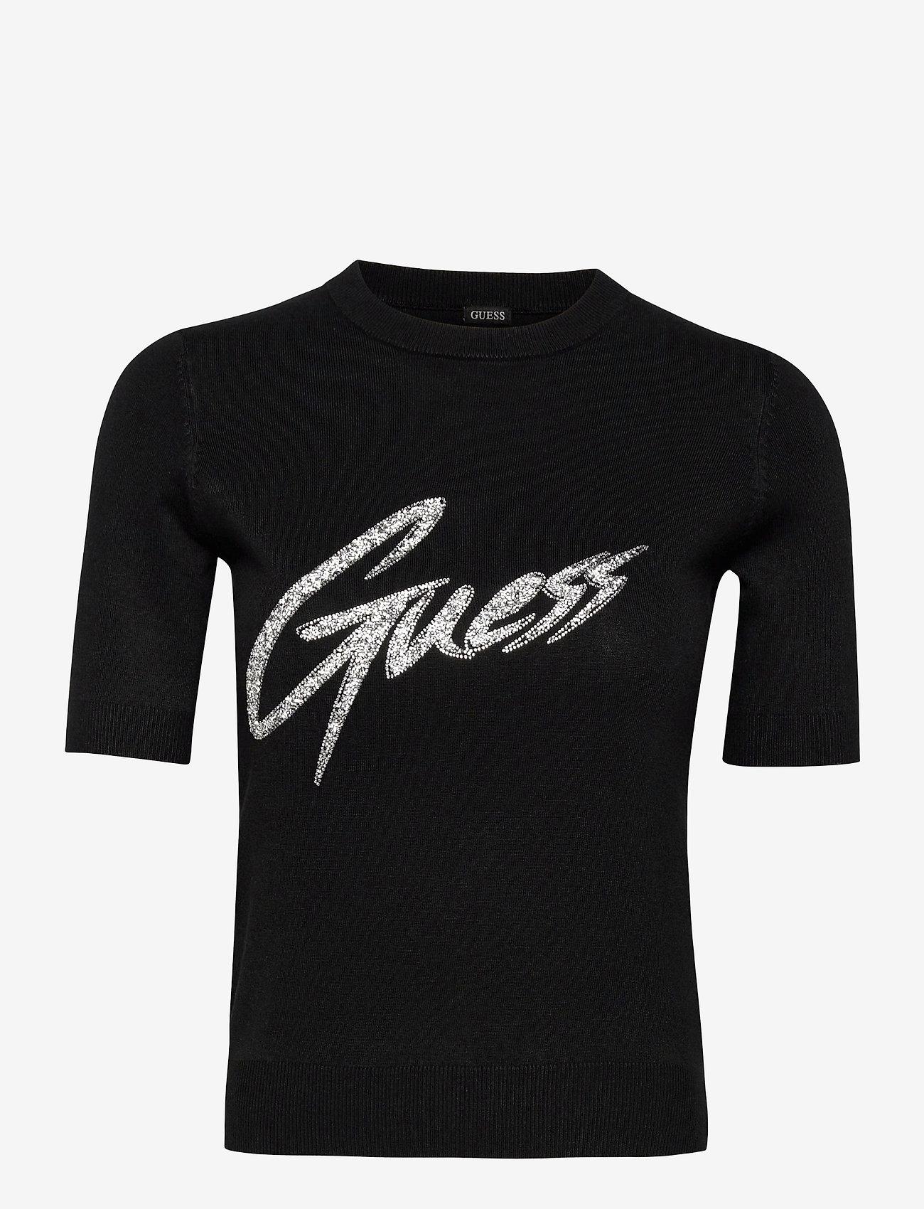 GUESS Jeans - DEBORAH RN SWEATER - gebreide t-shirts - jet black a996 - 0