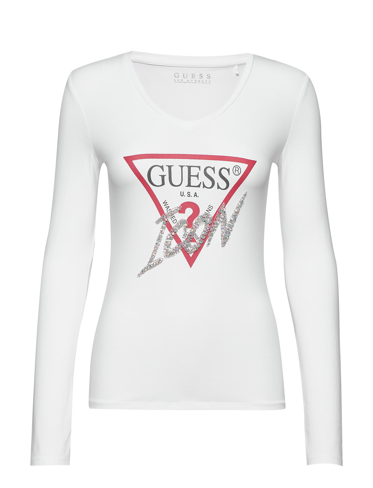 GUESS Jeans LS RN ICON TEE - TRUE WHITE A000