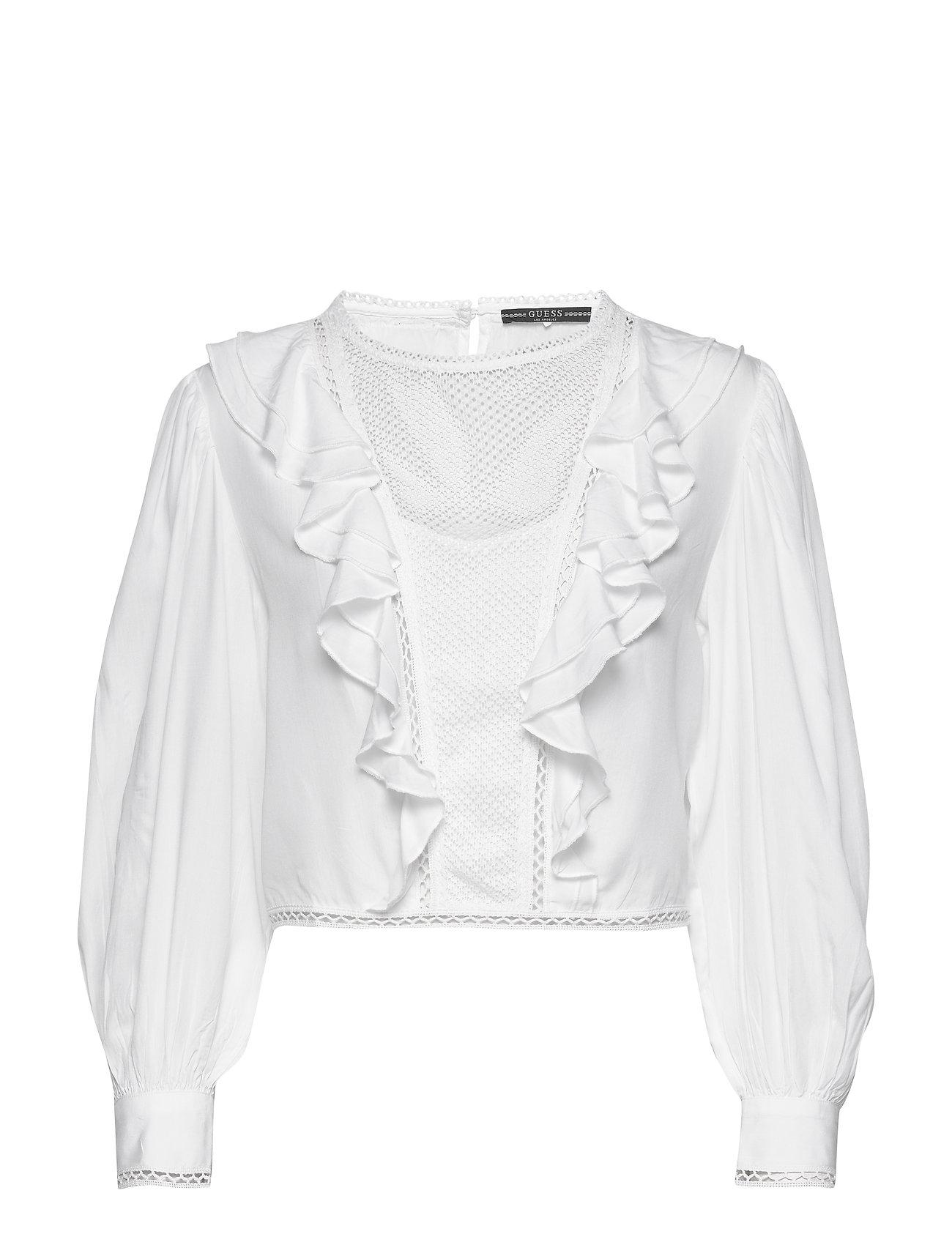 GUESS Jeans LS DAFNE TOP - TRUE WHITE A000
