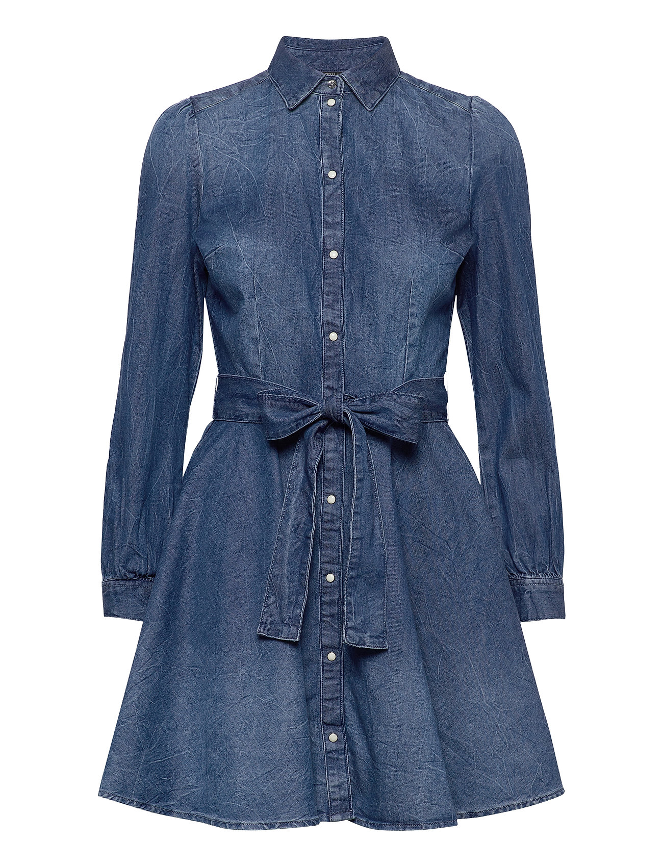 raya shirt dress kleid knielang blau guess jeans | foccz