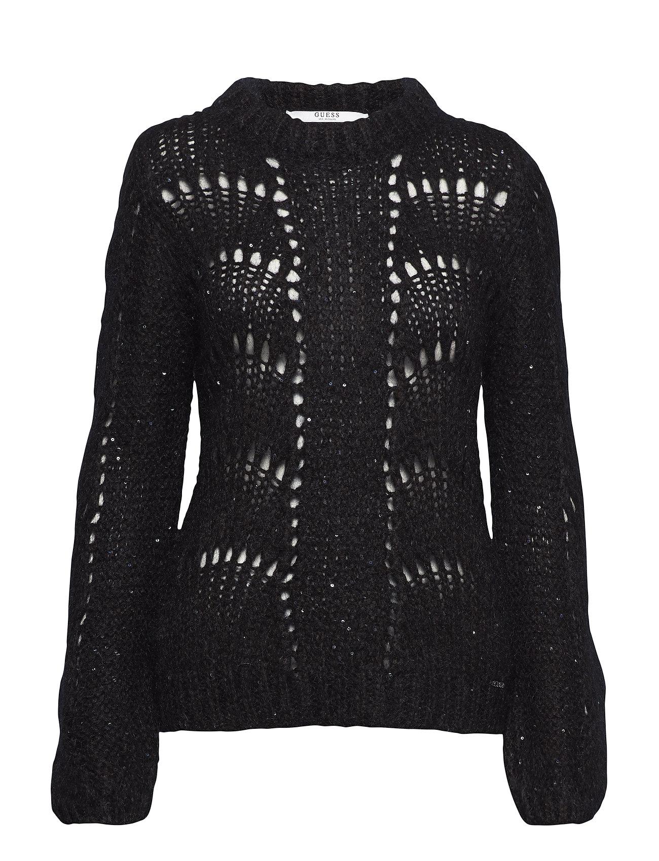 GUESS Jeans LS RN RITA SWEATER - JET BLACK A996
