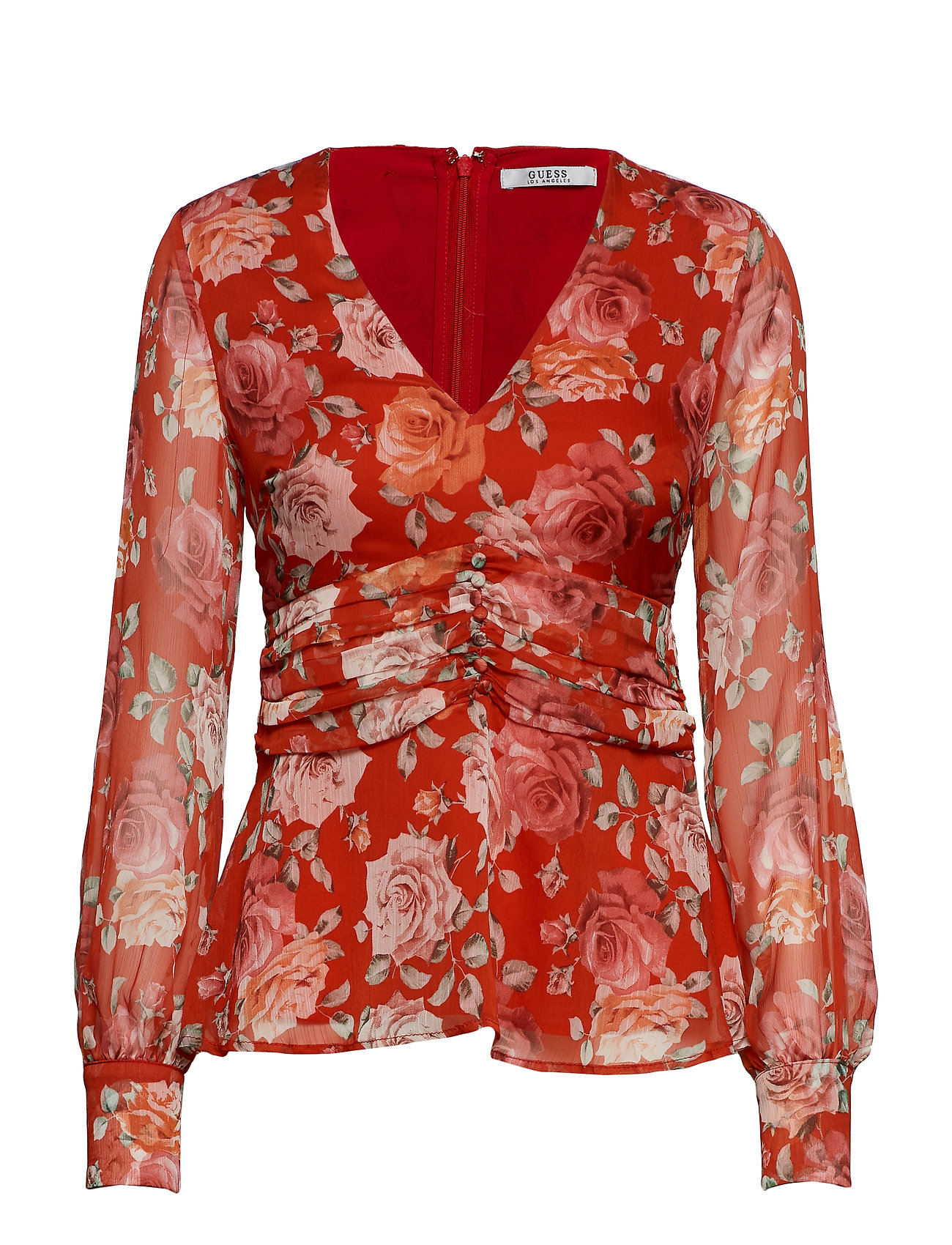 GUESS Ls Sofia Top Bluse Langärmlig Rot GUESS JEANS