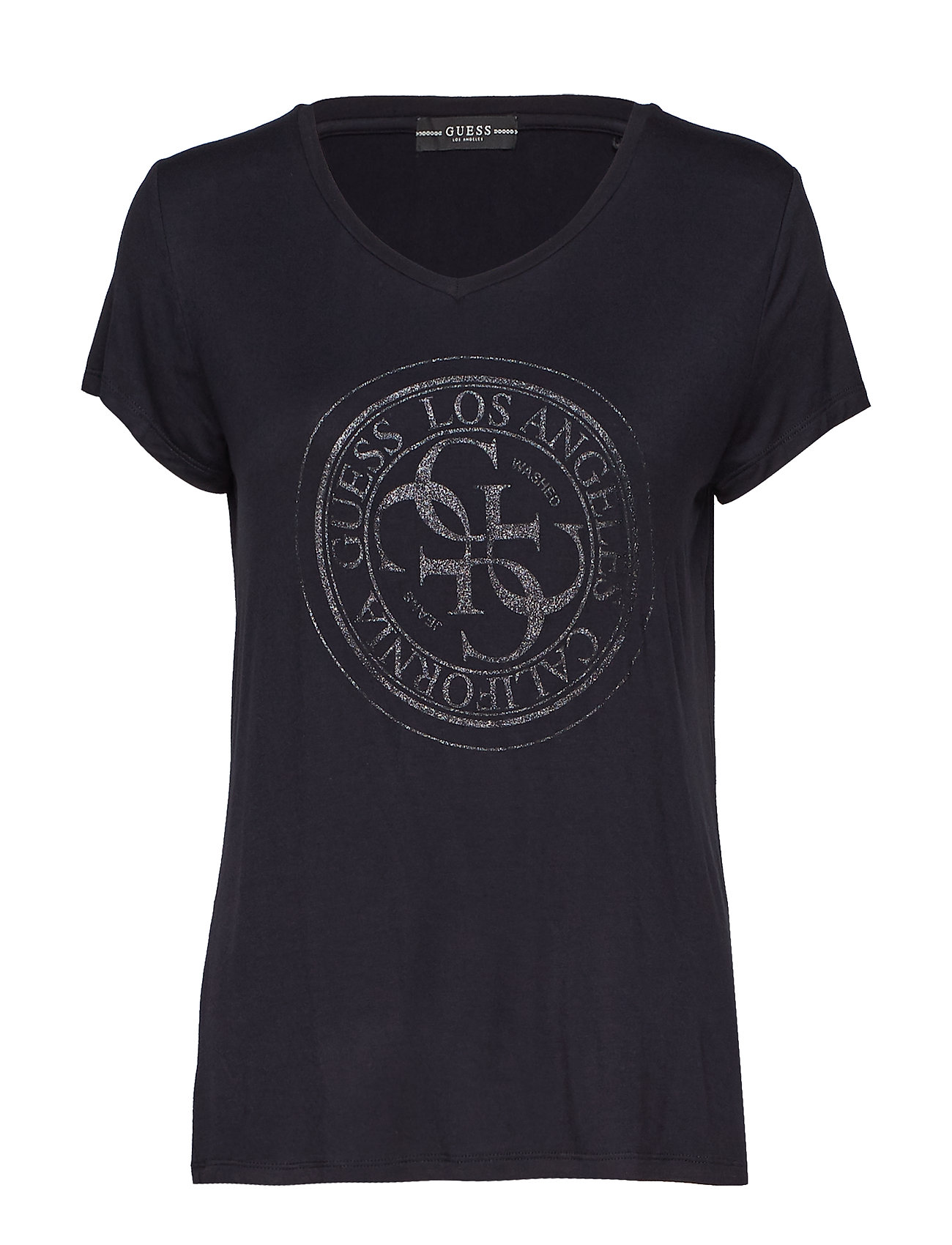 GUESS Jeans SS VN GLITTER STAMP TEE - JET BLACK A996