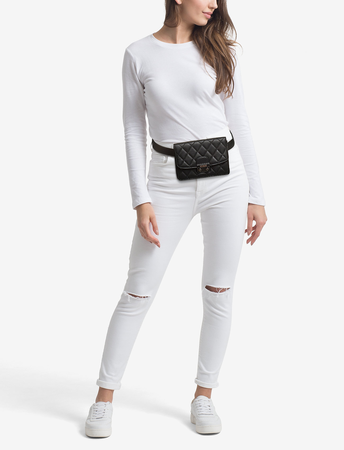 GUESS Jeans ECO LEATHER BELT WITH POUCH - JET BLACK A996