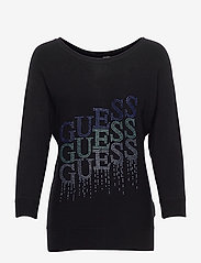 GUESS Jeans - CLAUDINE BAT SLEEVE SWTR - långärmade toppar - jet black a996 - 0