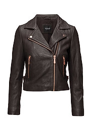 FILIPA LEATHER JACKET - ROCKY BROWN