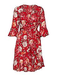 ADRIANE DRESS - FLOWER POWER RED