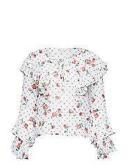 LS THELMA TOP - SPRING ROSES WHIT