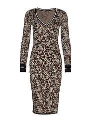 LS DAFNE SWEATER DRESS - BEIGE LEOPARD COM